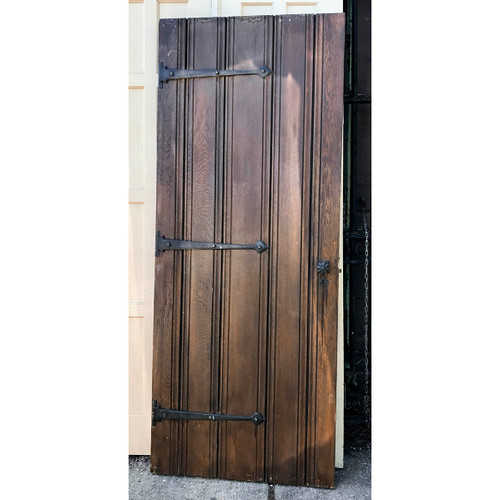 "D17063 - Antique Tudor Revival Oak Interior Door 29-1/4"" x 72-1/4"""