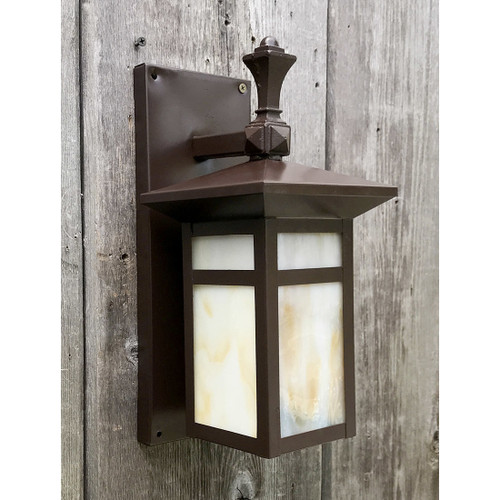 L17093 - Antique Arts & Crafts Exterior Paneled Glass Sconce