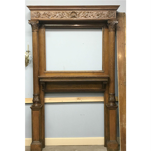 M17010 - Antique Late Victorian Quartersawn Oak Full Mantel
