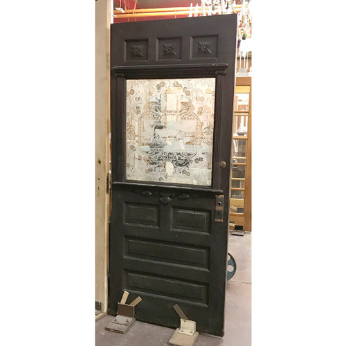 "D17071 - Antique Pine Victorian Exterior Door with Scenic Etched Glass 34"" x 81-1/2"""