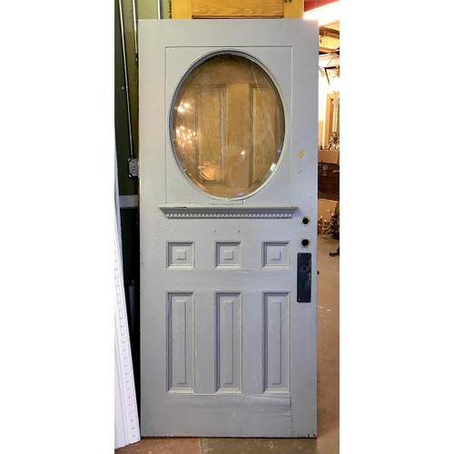 "D17074 - Antique Oak Late Victorian Exterior Door with Oval Beveled Glass  36"" x 83-3/4"""