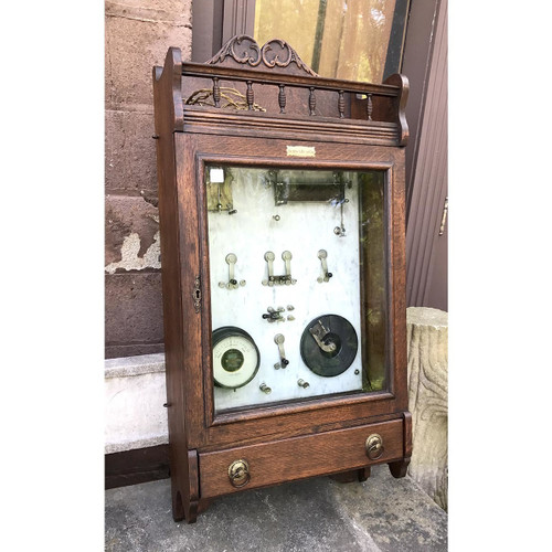 "A17027 - Antique Late Victorian Oak Wall Hanging ""Hydro Therapy"" Medical Cabinet"