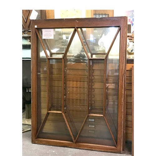 G17048 - Antique Revival Period Window in Original Oak Frame