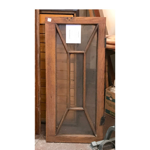 G17049 - Antique Revival Period Transom Window in Original Oak Frame