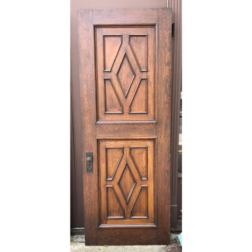 "D17099 - Antique Oak Revival Period Paneled Interior Door 34"" x 88-1/4"""