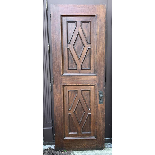 "D17100 - Antique Oak Revival Period Paneled Interior Door 31-3/4"" x 89"""