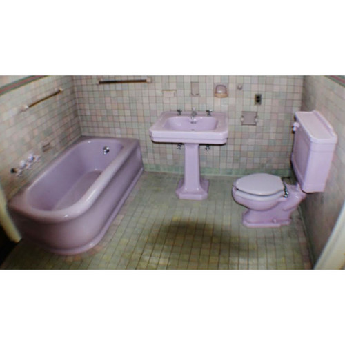 P17011 - Three Piece Antique Revival Period Lavender Bathroom Suite