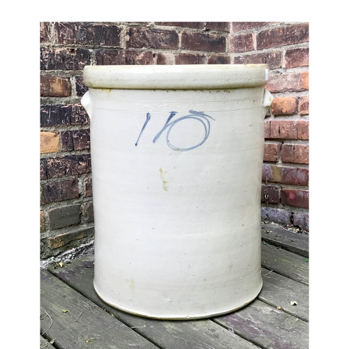 A17039 - Antique Hand Painted and Glazed 10 Gal. Fermentation Crock
