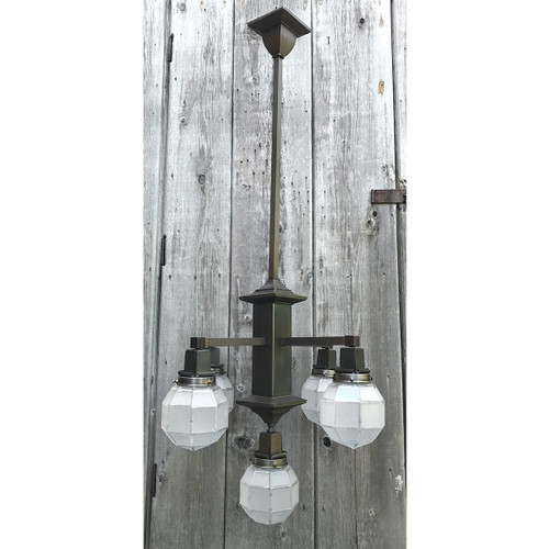 L17123 - Antique Arts and Crafts Five Light Hanging Fixture