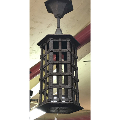 L17126 - Antique Tudor Revival Cast Iron Exterior Hanging Lantern Fixture