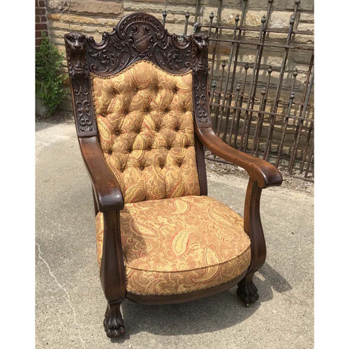F17070 - Antique Late Victorian Carved Quartersawn Oak Armchair