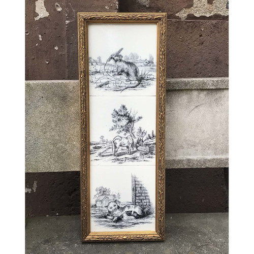 A17059A - Antique Grouping of Three Black and White Scenic Tiles in Frame