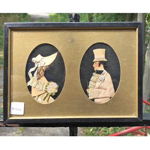 A17061 - Antique Framed Collage Silhouette