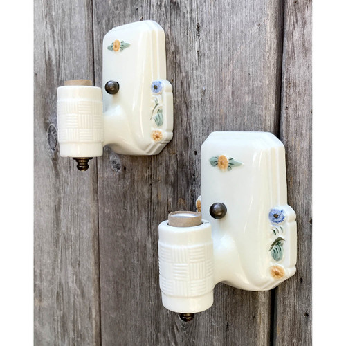 L17159 - Pair of Antique Porcelain Bare Bulb Sconces