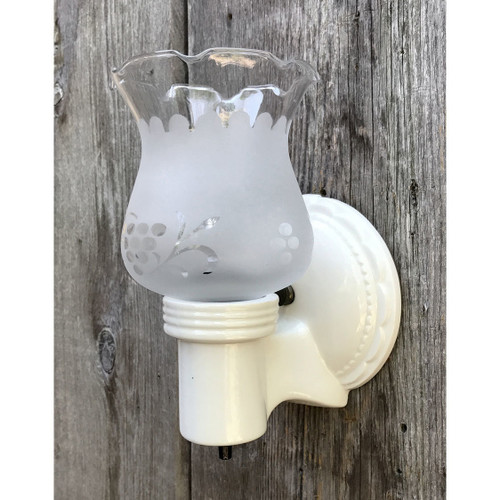 L17162 - Antique Porcelain Bare Bulb Bathroom Sconce