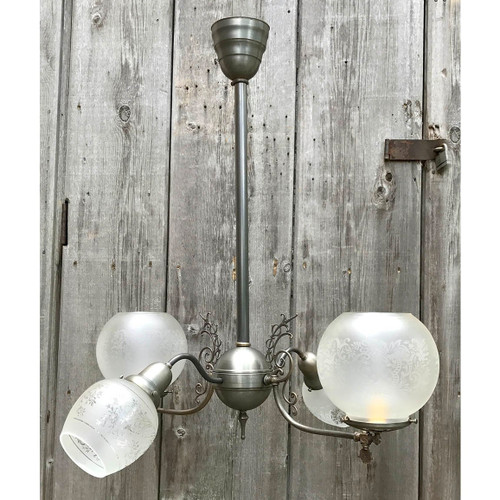 L17178 - Antique Late Victorian Gas & Electric Four Arm Fixture