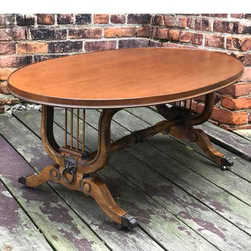 F17095 - Antique Neoclassical Style Mahogany Coffee Table