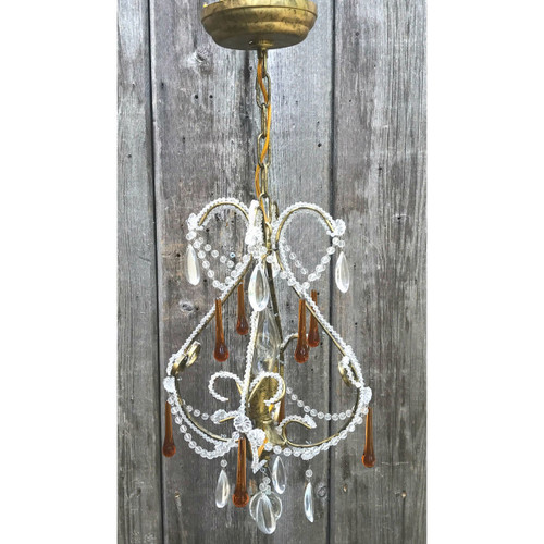 L17190 - Contemporary Two Light Beaded and Crystal Fixture