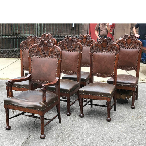 F17099   Set Of Seven Antique Carved Quartersawn Oak Dining Chairs