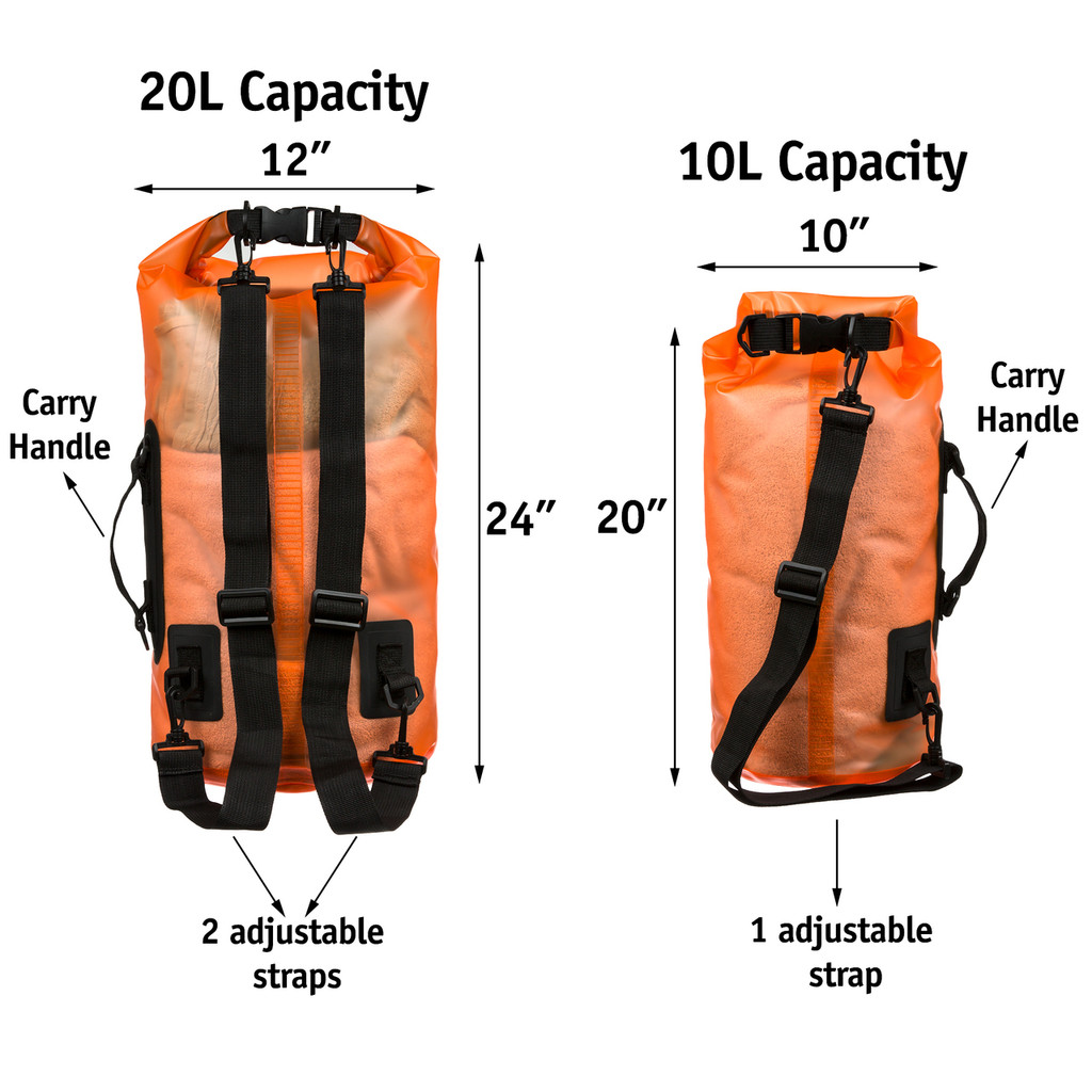 Premium Waterproof Dry Bag by SandShark- Transparent 10 & 20 Liter Floating Sack for Boating, Camping, Kayaking, Swimming, Hiking, Beach and Watersports - Side and Shoulder Strap – Roll Top Keeps Gear Dry.