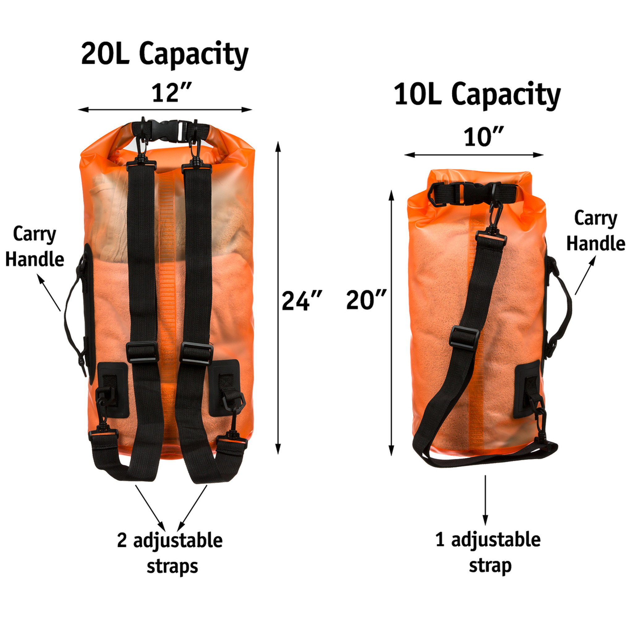 Premium Waterproof Dry Bag By Sandshark Transpa 10 20 Liter Floating Sack For Boating Camping