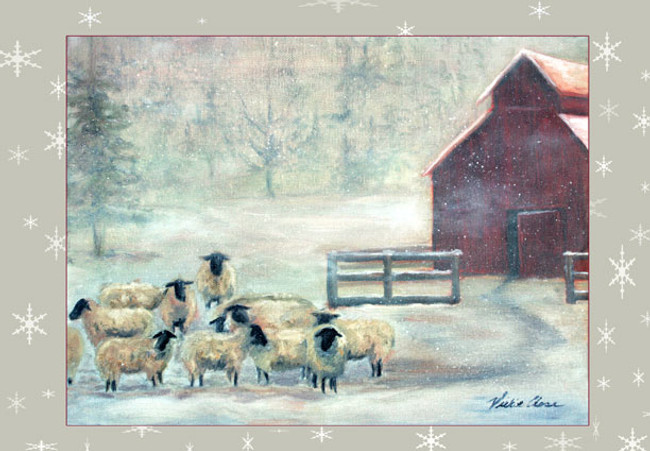 """""""Winter sheep"""" Greeting Cards By Vickie Close"""