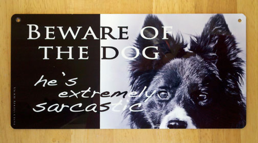 Beware Of The Dog Metal Sign