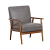 Wood Frame Faux Leather Accent Chair in Lummus Steel - DS-D030003-329