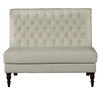 Armless Button Tufted Upholstered Settee in Aria Porcelain - DS-2506-400-489