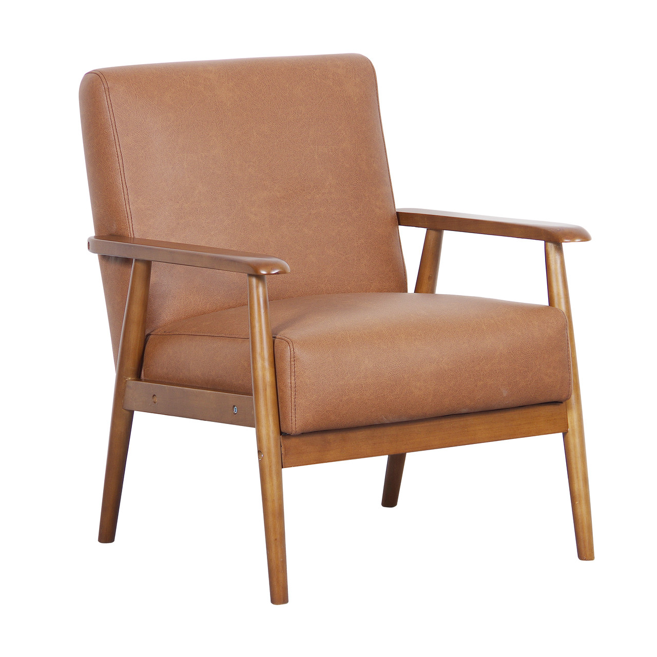 Wood Frame Faux Leather Accent Chair In Lummus Cognac   DS D030003 460