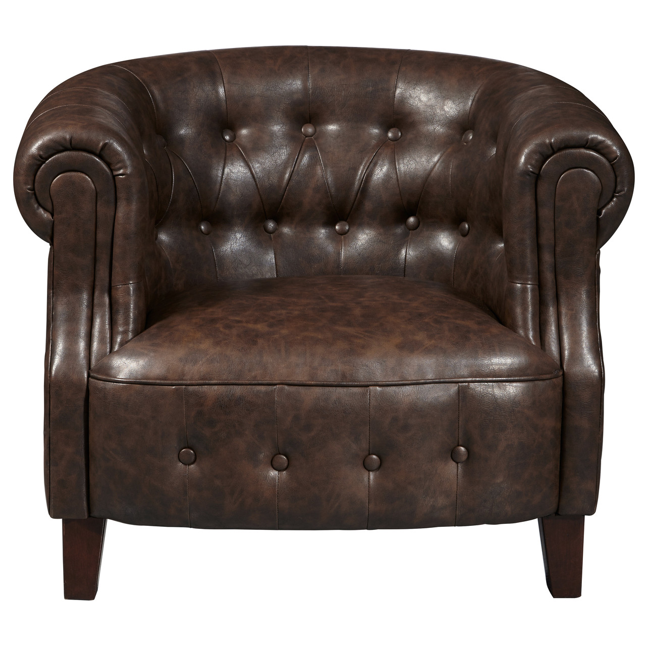 Delicieux Brown Faux Leather Tufted Barrel Arm Chair   DS D113001