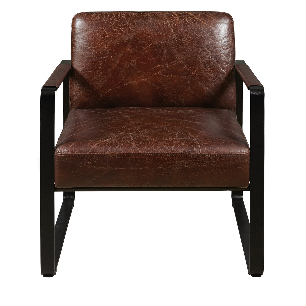 Delancy Arm Chair   Distressed Brown Leather