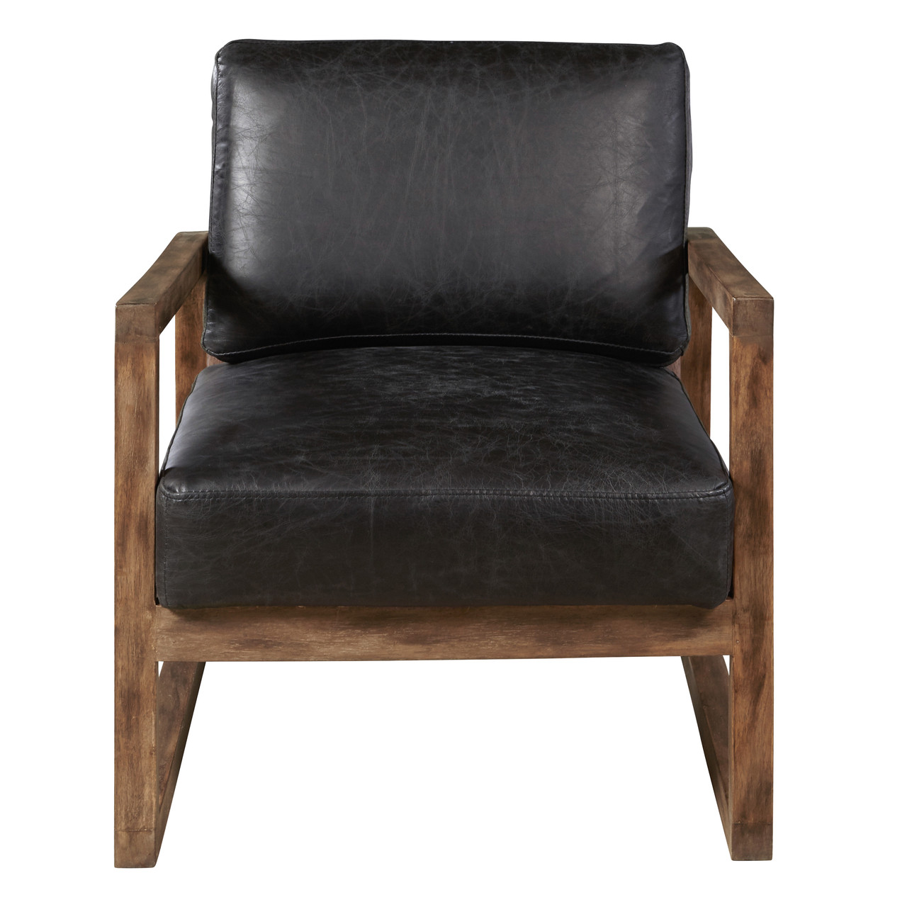 Delancy Arm Chair   Distressed Black Leather