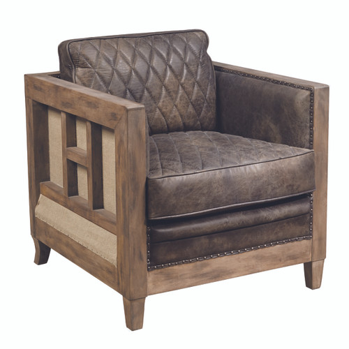 Leather & Wood Accent Chair - P006200
