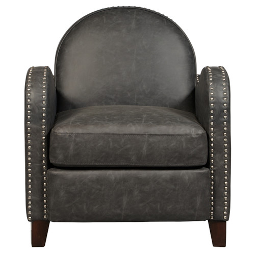 Charcoal Faux Leather Curved Arm Accent Chair- DS-D113003