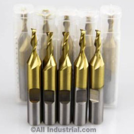 "All Industrial 14002 | 5/32"" High Speed Steel 2 Flute TiN Coated End Mill"