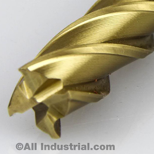 "All Industrial 14610 | 5/8"" High Speed Steel 4 Flute Long Length TiN Coated End Mill"