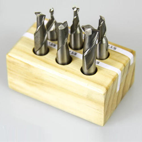 "All Industrial 11900 | 6pc HSS 2 Flute End Mill Set 1/8""-1/2"" 3/8 Shank Mills with 3/16"", 5/16"",1/4"""