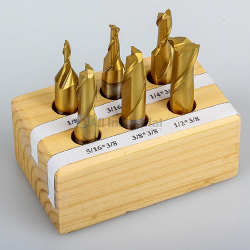 "All Industrial 11902 | 6pc HSS TiN Coated 2 Flute End Mill Set 1/8-1/2"" 3/8"" Shank Single End"