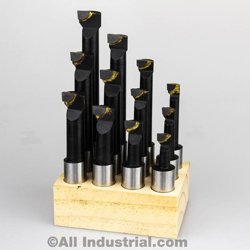 "All Industrial 11924 | 5/8"" Boring Bar Set Pro Quality 12pcs Carbide Tipped Bars 5/8"" Shank Lathe Tool"