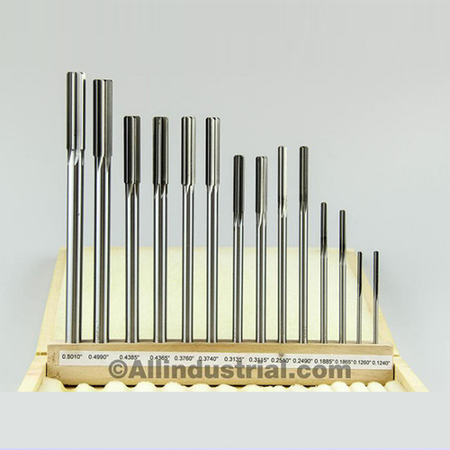 "All Industrial 10600 | 14pc Reamer Set Premium HSS .1240"" - .5010"" Over Under Sizes Straight Shank"