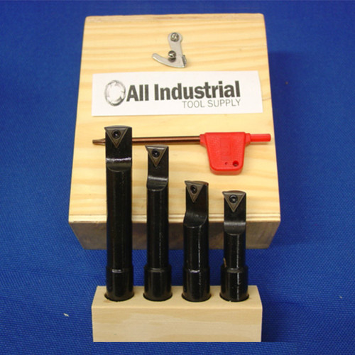 "All Industrial 19900 | Premium 4pc 1/2"" Indexable Boring Bar Set Lathe Round Shank Bars"