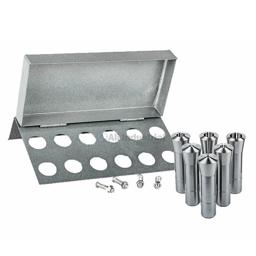 "All Industrial 41074 | 6pc R8 Collet Set 1/8"" to 3/4"" for Bridgeport With R8 Collet Rack - 12 Slot"