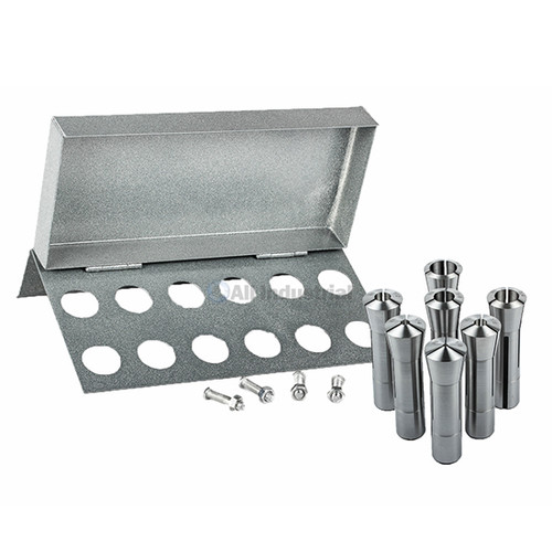 "All Industrial 41076 | 7pc R8 Collet Set 1/8"" to 7/8"" for Bridgeport With R8 Collet Rack - 12 Slot"