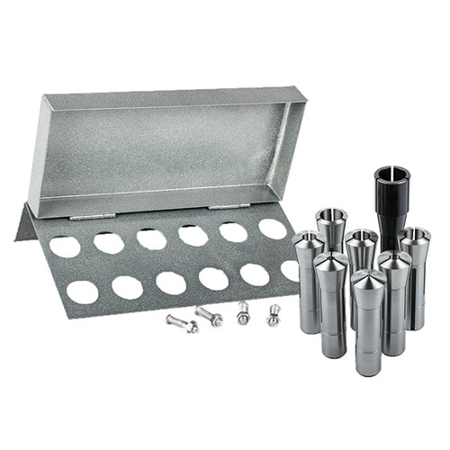 "All Industrial 41078 | 8pc R8 Collet Set 1/8"" to 1"" for Bridgeport With R8 Collet Rack - 12 Slot"