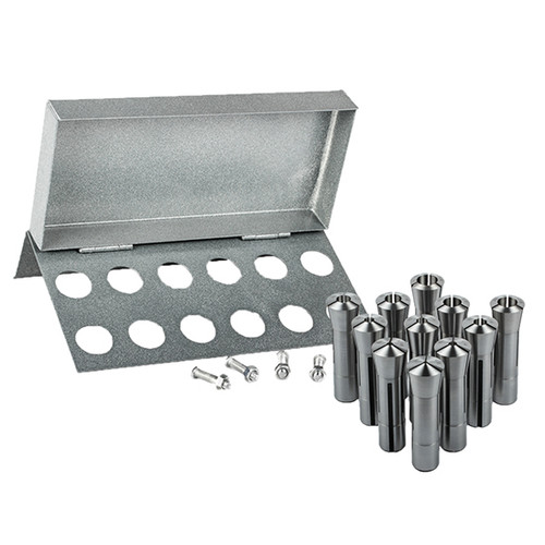 "All Industrial 41080 | 11pc R8 Collet Set 1/8"" to 3/4"" for Bridgeport With R8 Collet Rack - 12 Slot"