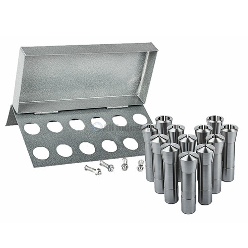All Industrial 41084 | 12pc R8 Collet Set 3mm to 22mm for Bridgeport With R8 Collet Rack - 12 Slot