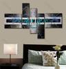 Blue Circle Center 5 Panel Contemporary Artwork