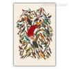 Retro Colorful Birds Fresco Photo Art