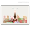 Paris Cityscape Eiffel Tower Watercolor Wall Art